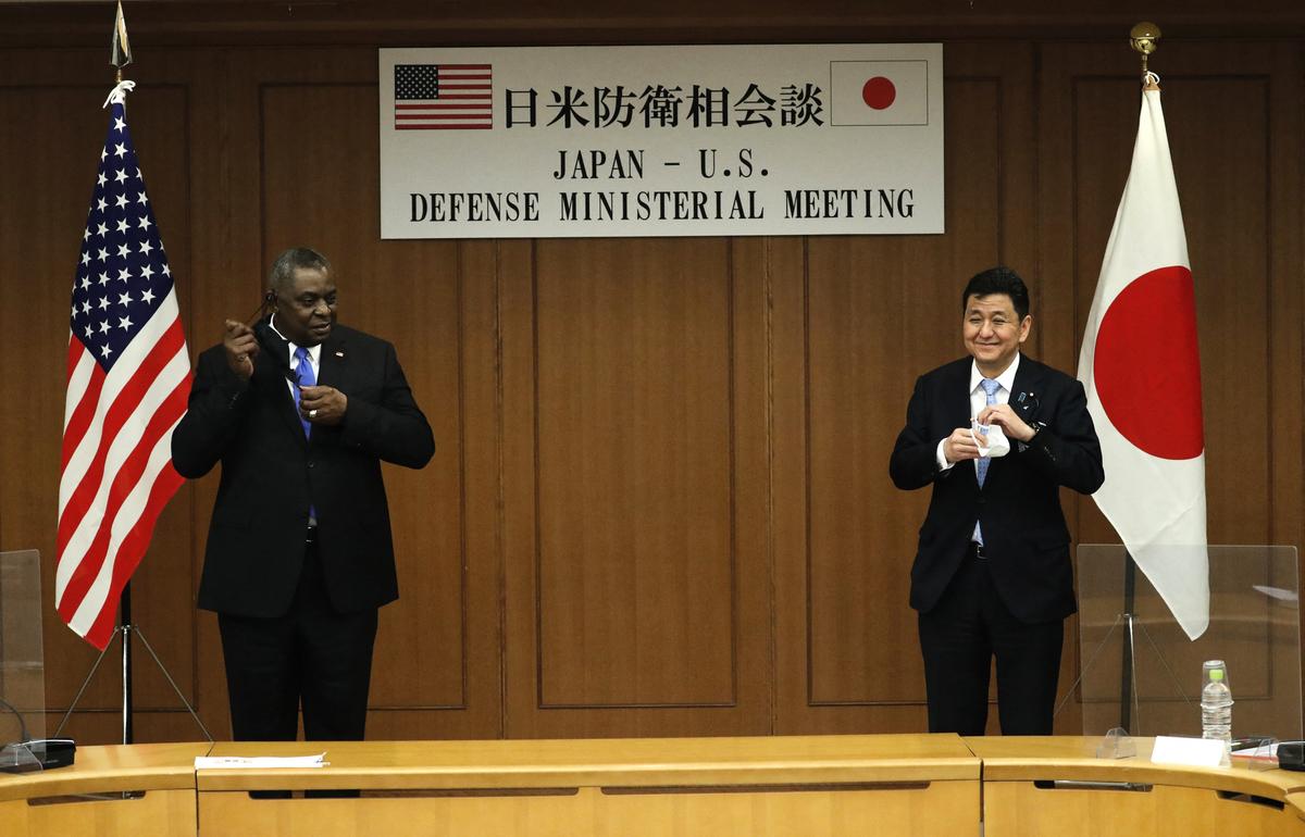 2021年3月16日,美日防長會面。(ISSEI KATO/POOL/AFP via Getty Images)