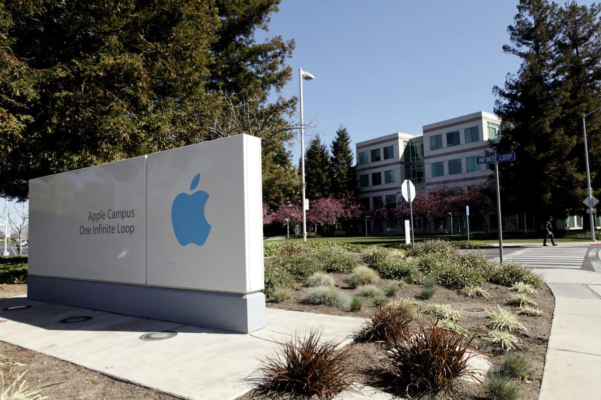 位於加州庫比蒂諾(Cupertino)的蘋果公司正門。(Ryan Anson/AFP via Getty Images)