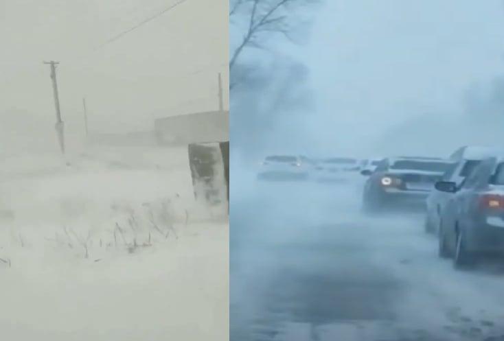 4月20日,黑龍江省和吉林省多地突降大雪。(影片截圖合成)
