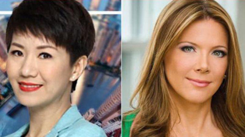 中美貿易戰意外衍生出了一場美中電視女主播之間的「唇槍舌戰」,以及一場現場辯論。(新唐人合成圖片)