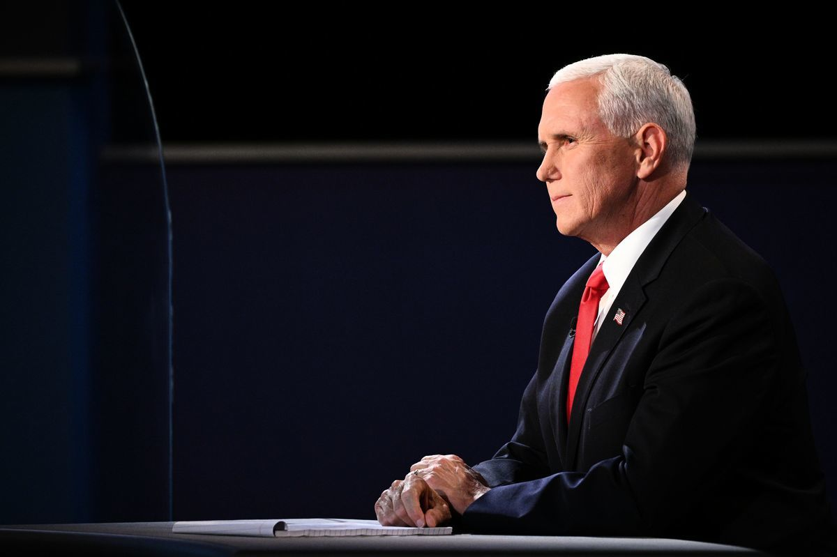 2020年10月7日,美國猶他州鹽湖城,美國副總統彭斯出席在猶他大學舉行的副總統辯論會。(ROBYN BECK/AFP via Getty Images)