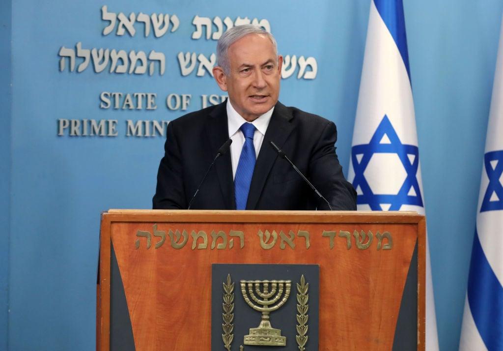 以色列總理本傑明·內塔尼亞胡(Benjamin Netanyahu )於2020年8月13日在耶路撒冷舉行新聞發佈會,宣佈與阿聯酋達成和平協議。(ABIR SULTAN/POOL/AFP via Getty Images)