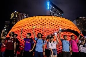 組圖:9.18維園球迷拉人鏈 合唱願榮光歸香港