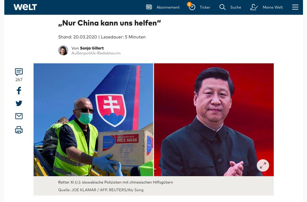 3月20日,德國《世界報》發文《「只有中國能幫我們」》(「Nur China kann uns helfen」),深揭中共騙局。(網絡截圖)