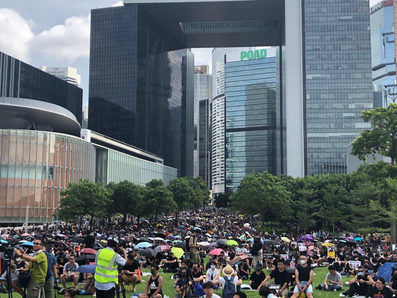 今天(9月3日),添馬公園也繼續舉行罷工集會。(余天祐/大紀元)