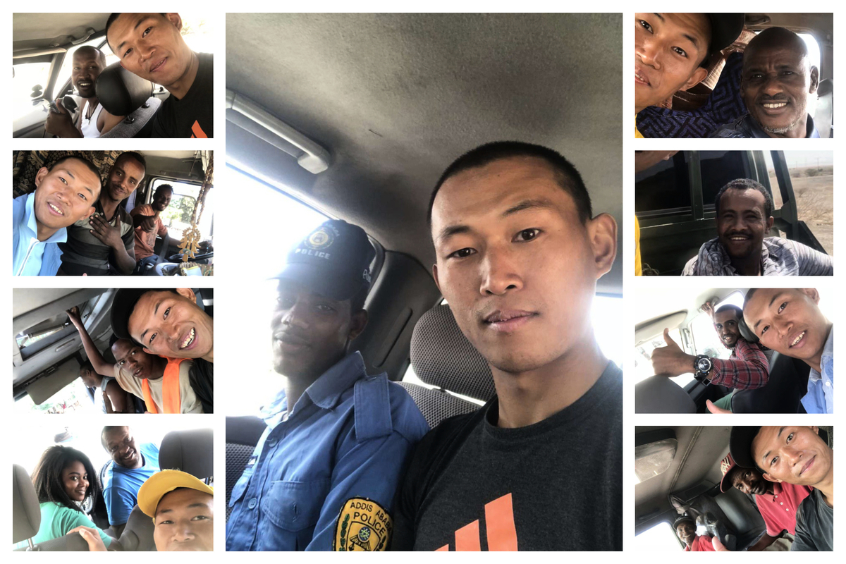 山東維權人士界立建穿越非洲,一路靠好心的司機捎帶免費搭車。(受訪者提供)
