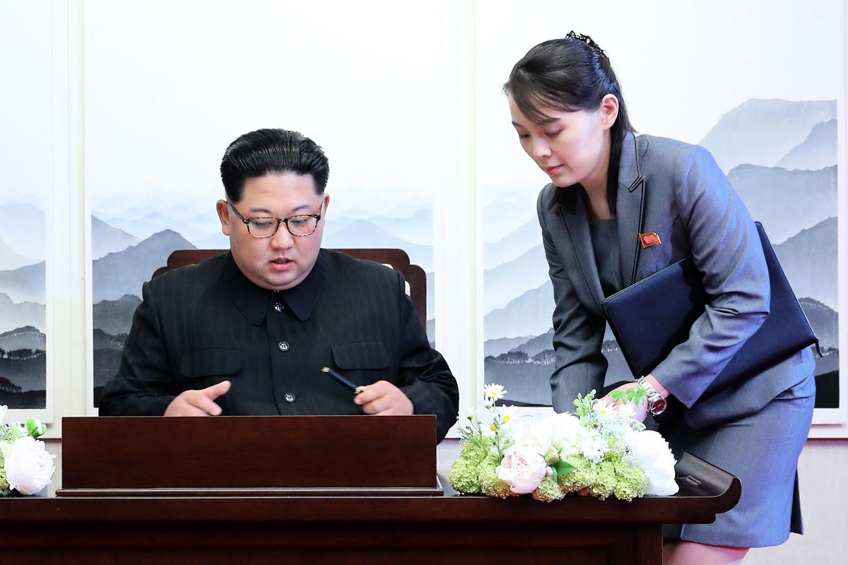 北韓領導人金正恩(Kim Jong Un)及其胞妹金與正(Kim Yo Jong)。(KOREA SUMMIT PRESS POOL/AFP via Getty Images)
