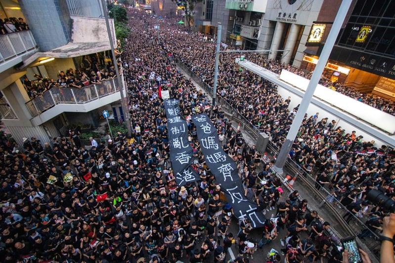 2019年6月16日,近200萬市民再次上街反「送中」惡法,要求特首林鄭月娥下台,遊行人數創香港史上最多紀錄。(蔡雯文/大紀元)