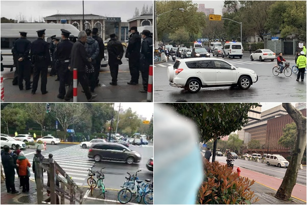 3月19日上午9時30分,陳建芳案在中共上海市一中院開庭。當局派出大量便衣特務、警察,法院周邊戒備森嚴。(受訪人提供)