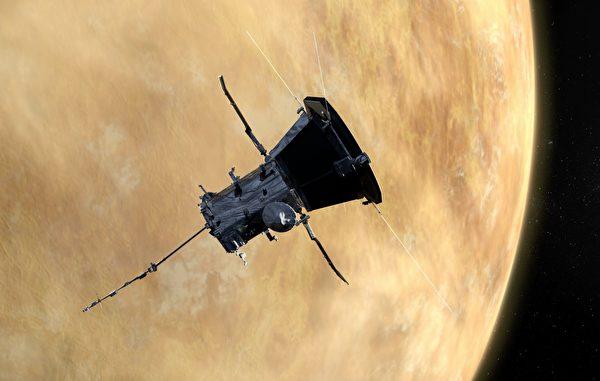 帕克太陽探測器飛掠金星假想圖。(NASA)