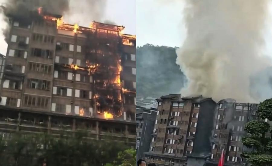 貴州茅台鎮居民樓大火 火勢延燒6層樓