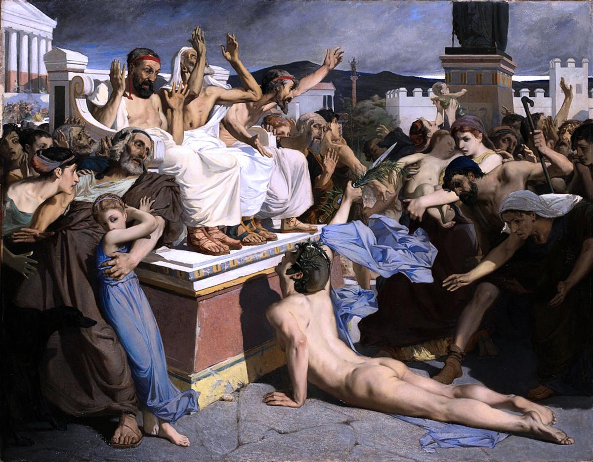 法國畫家梅爾森(Luc-Olivier Merson,1846—1920)根據希臘傳說創作了油畫《菲迪皮得斯向雅典人報告馬拉松戰役勝利的消息》(1869年)。(公有領域)