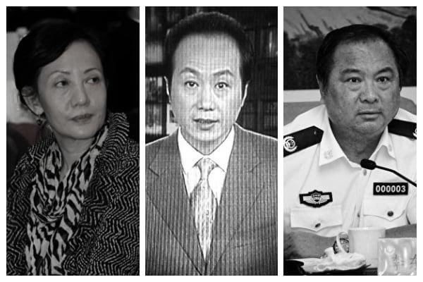 中共三大喉舌知名媒體人紛遭厄運。從左到右分別是胡欣、羅京、李東生。(大紀元資料室/大紀元合成圖)