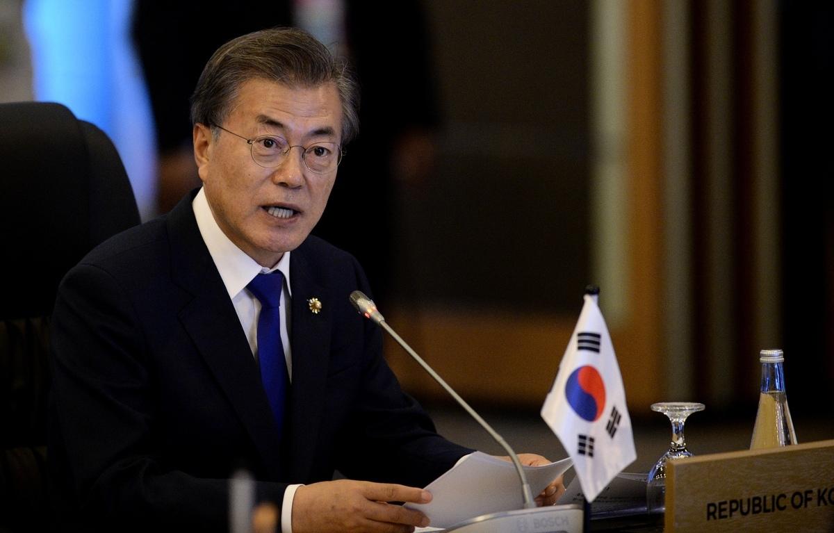 南韓總統文在寅周二(6月30日)表示,希望在美國11月大選之前促成特朗普與金正恩會面,以恢復北韓無核化談判。 (AFP)