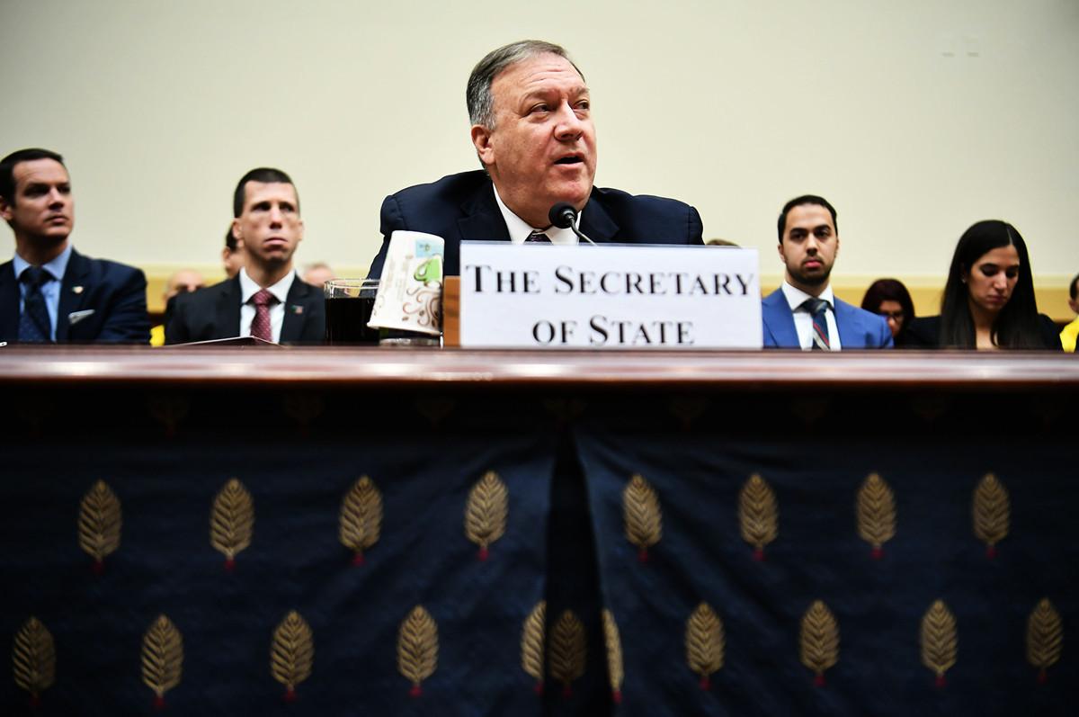 2月28日,國務卿蓬佩奧參加眾議院外交事務委員會的聽證會。(MANDEL NGAN/AFP)