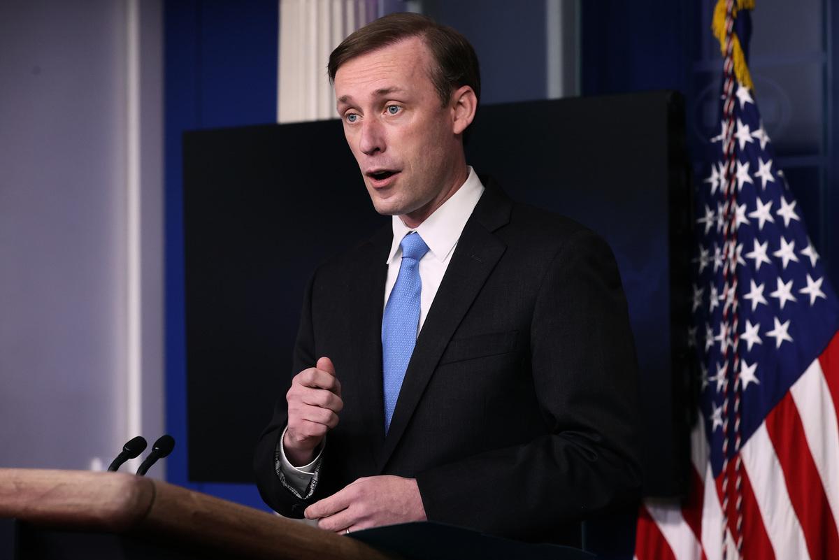 2021年2月21日,白宮國家安全顧問傑克·沙利文(Jake Sullivan)表示,中共未能提供疫情初期,有關病毒在中國內部傳播的足夠數據。(Chip Somodevilla/Getty Images)