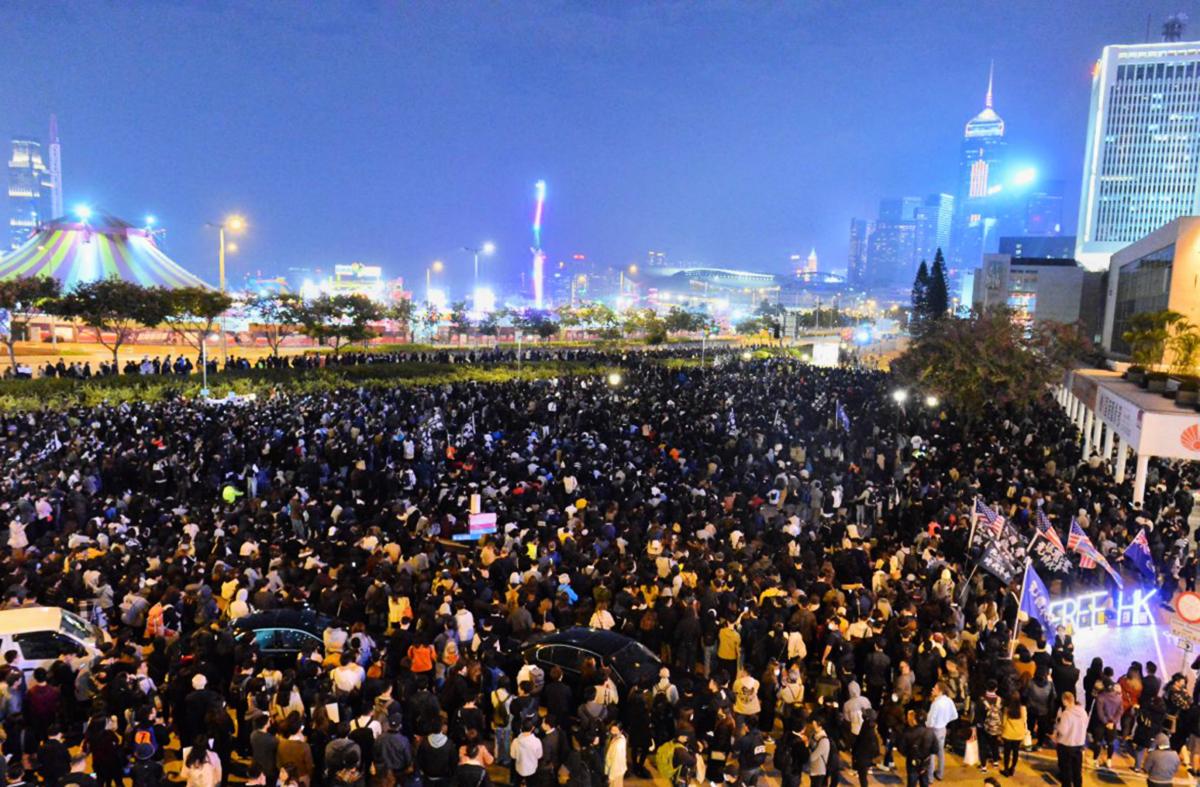 2019年12月,中環愛丁堡廣場齊上齊落集會,參加集會的人擠爆廣場。(宋碧龍/大紀元)