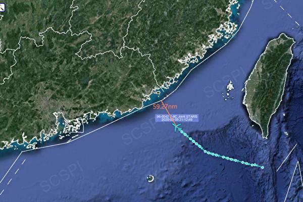 根據SCSPI ,8月5日當晚E-8C指揮機從台灣南方海域往中國方向飛行,距離廣東最近59.72海里(約 109.77公里)。(截自SCSPI推特)