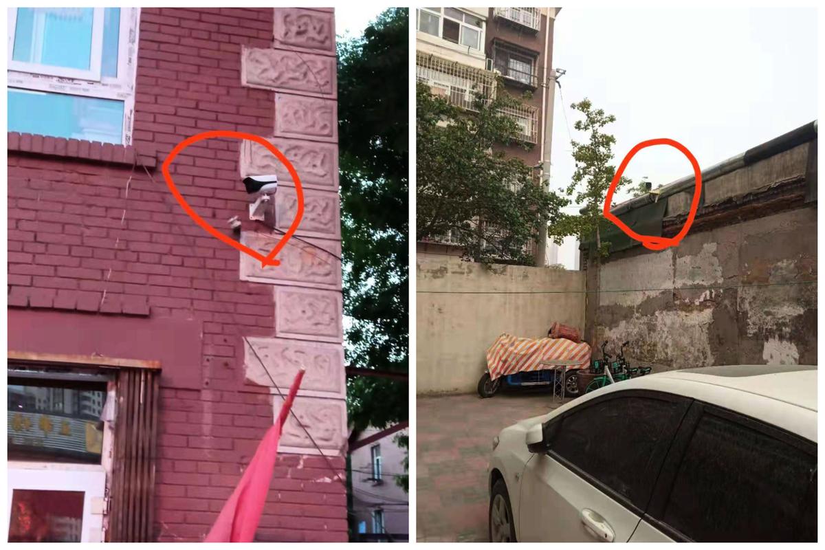 張建中租住處的二個對門式錄像頭。(受訪者提供)