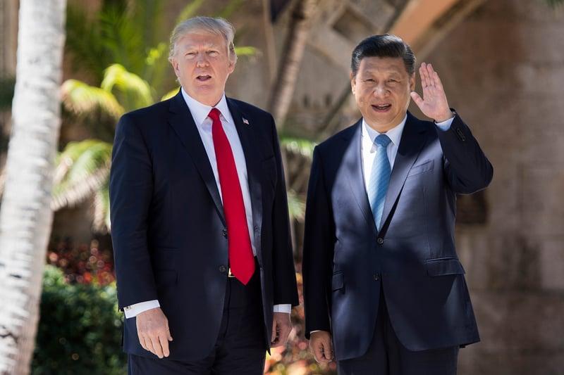 特朗普(左)與習近平會晤(右)。資料圖(Getty Images)