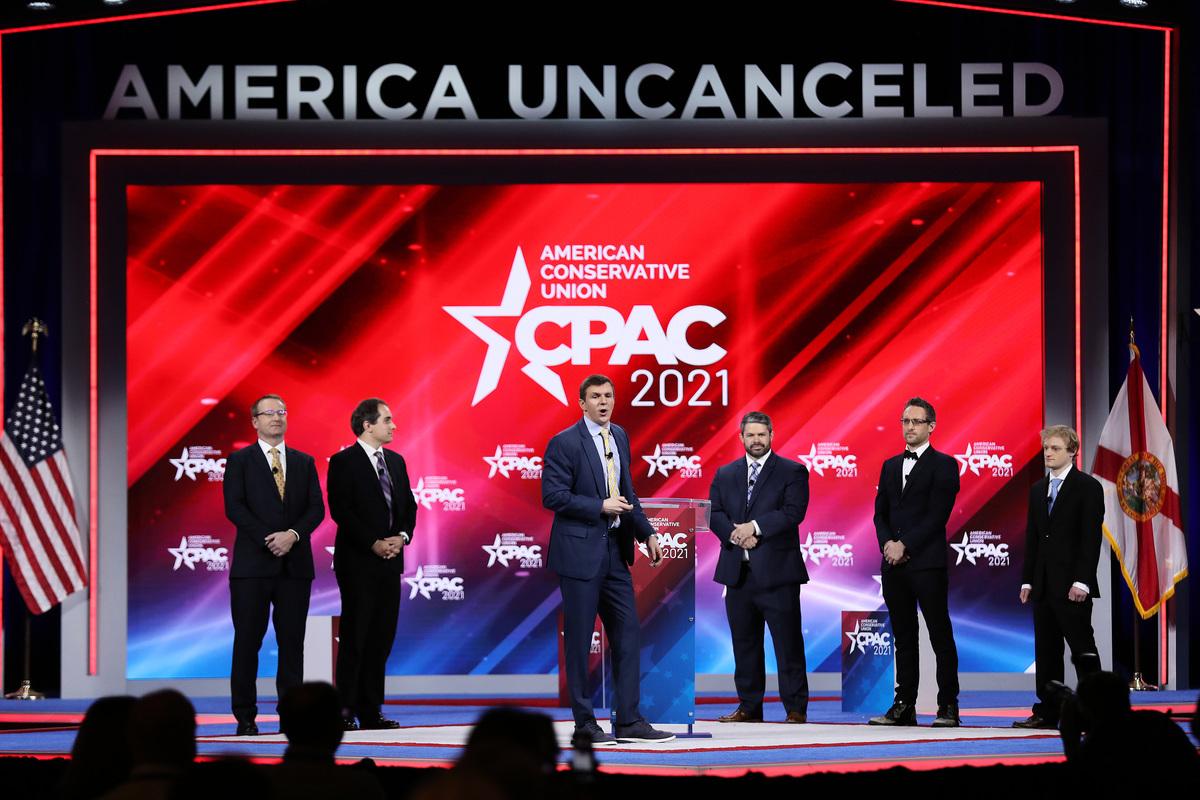 圖為2月26日,美國保守派聯盟大會(CPAC)的第一天會場。( Joe Raedle/Getty Images)