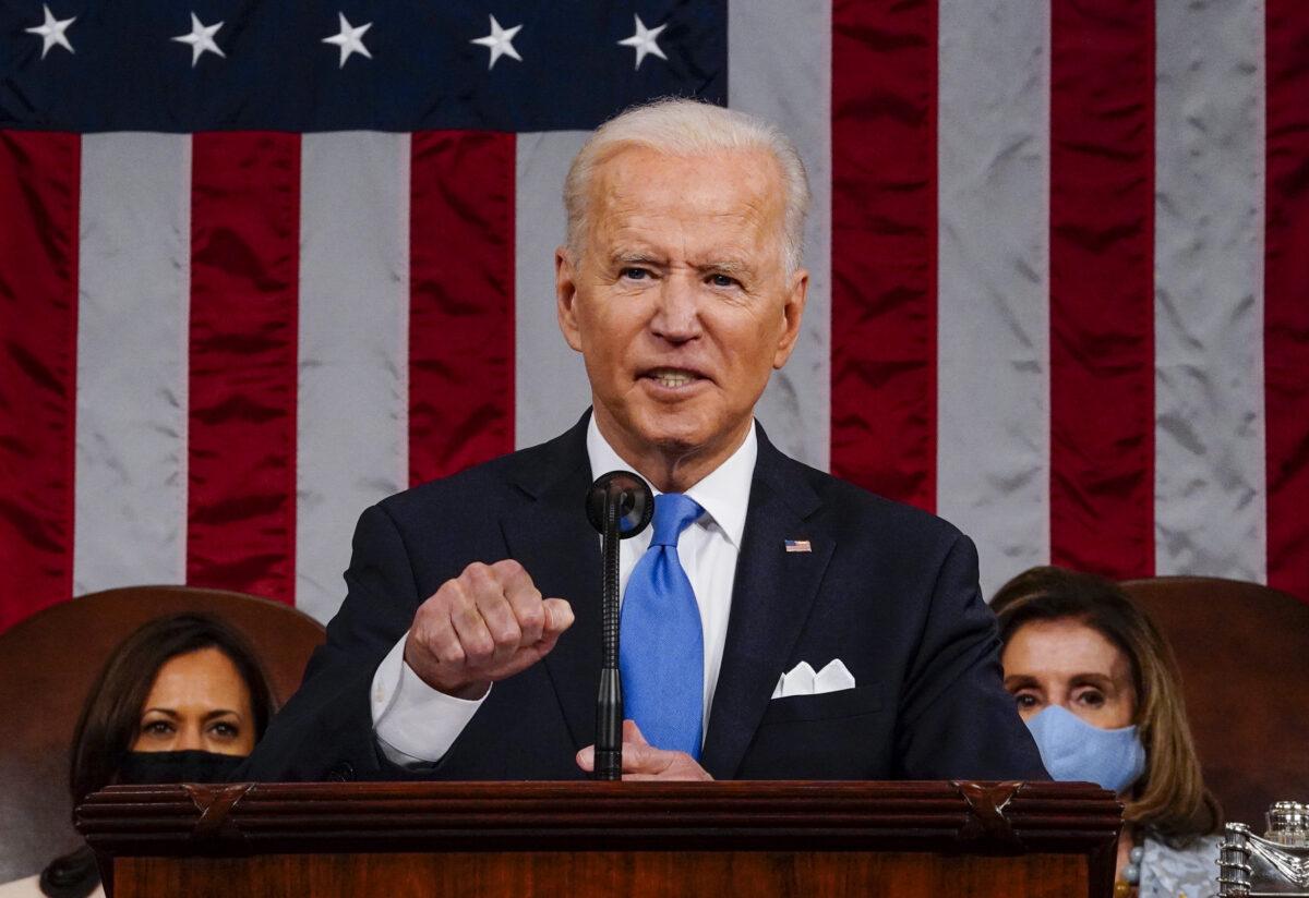 2021年4月28日,美國總統祖·拜登在華盛頓國會大廈參眾兩院聯席會議上演講。(Melina Mara/Pool/Getty Images)