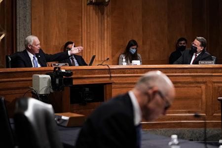 委員會主席共和黨籍參議員羅恩·約翰遜(Ron Johnson)與排名第一的民主黨參議員加里·彼特斯(Gary Peters)在2020年12月16日的聽證會上針鋒相對。(Greg Nash-Pool/Getty Images)
