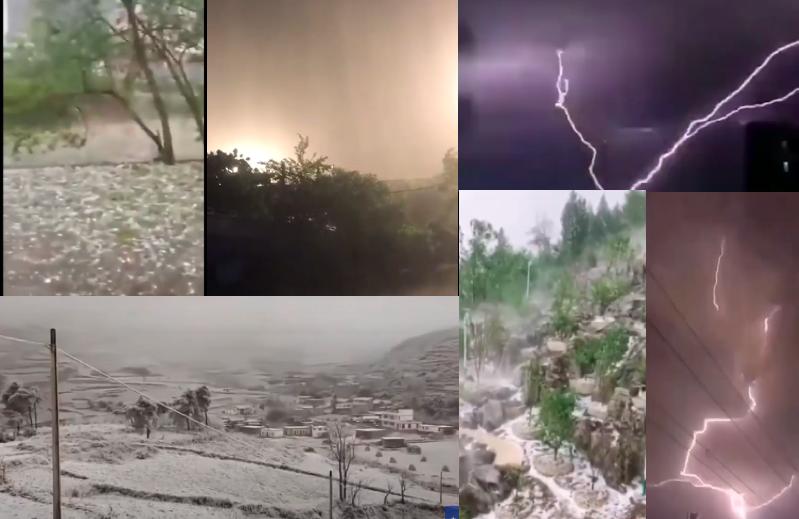 中國南北多省均出現天氣異常現象,(影片截圖合成)