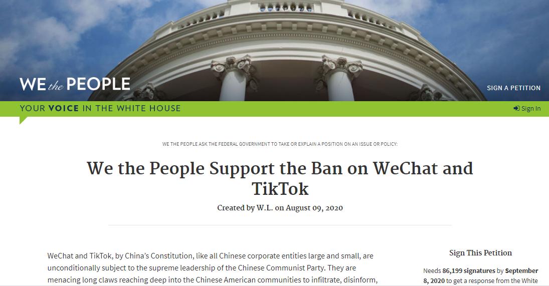 華人在白宮「我們人民」網站發起請願,支持美國政府禁用微信和TikTok。(白宮我們人民網站)