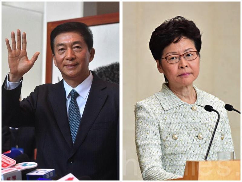 2020年8月7日(周五),特朗普政府宣佈制裁11名中港官員,包括香港特首林鄭月娥、中聯辦主任駱惠寧。圖為駱惠寧與林鄭月娥。(大紀元合成圖)