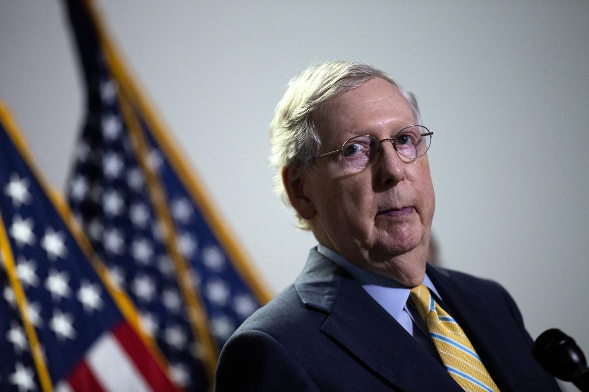 圖為美國參議院多數黨領袖米奇·麥康奈爾(Mitch McConnell)。(Stefani Reynolds/Getty Images)