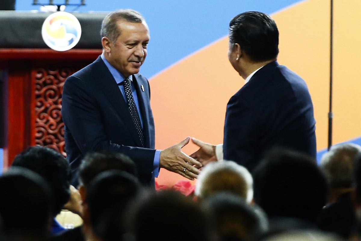 2017年5月14日,土耳其總統埃爾多安出席北京「一帶一路」國際論壇的開幕式。(Thomas Peter-Pool/Getty Images)