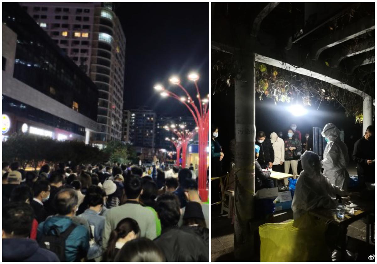 青島市民連夜接受核酸檢測。(微博網友)