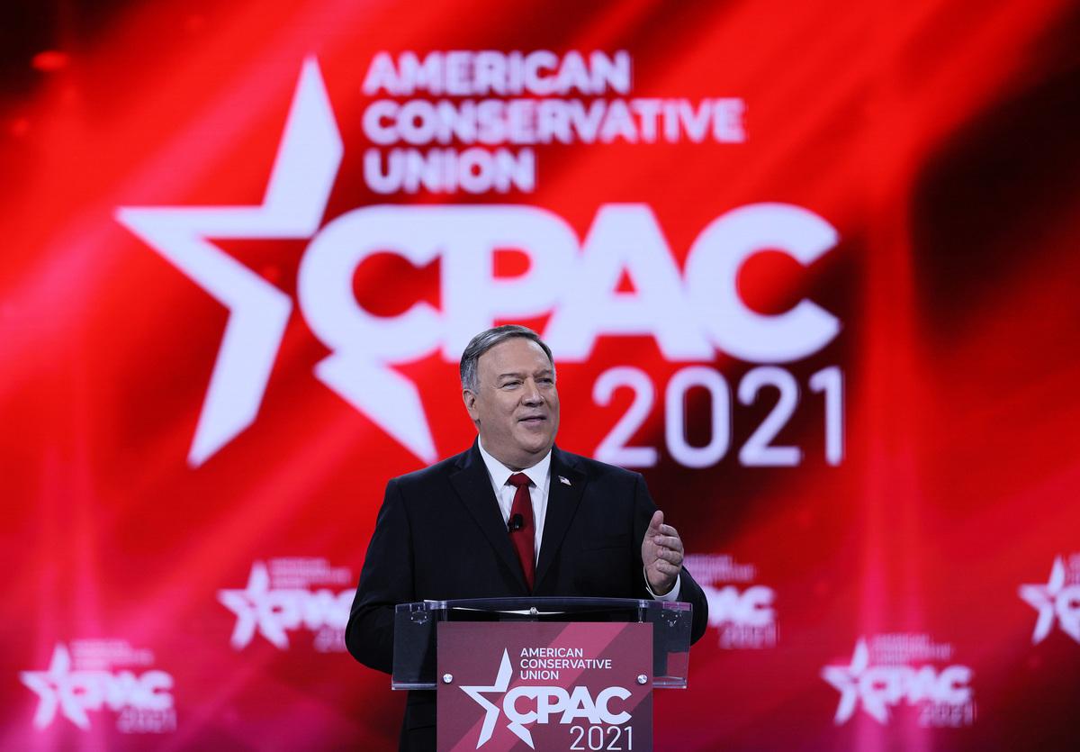 2021年2月27日,前國務卿蓬佩奧在2021年CPAC會議上發言。(Joe Raedle/Getty Images)