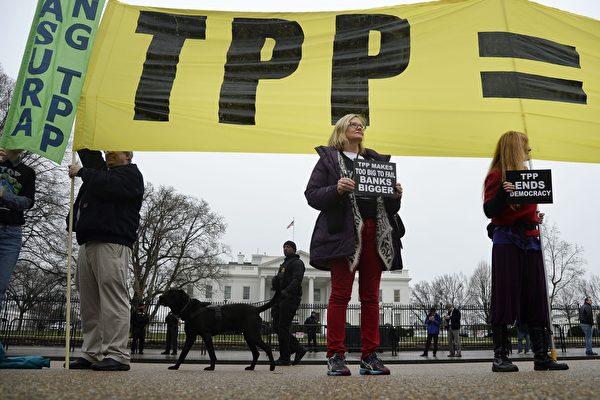今年大選,特朗普的經濟政策向TPP說「不」,希拉莉則有條件地接受TPP。圖為抗議TPP的美國民眾。(Olivier Douliery/Getty Images)