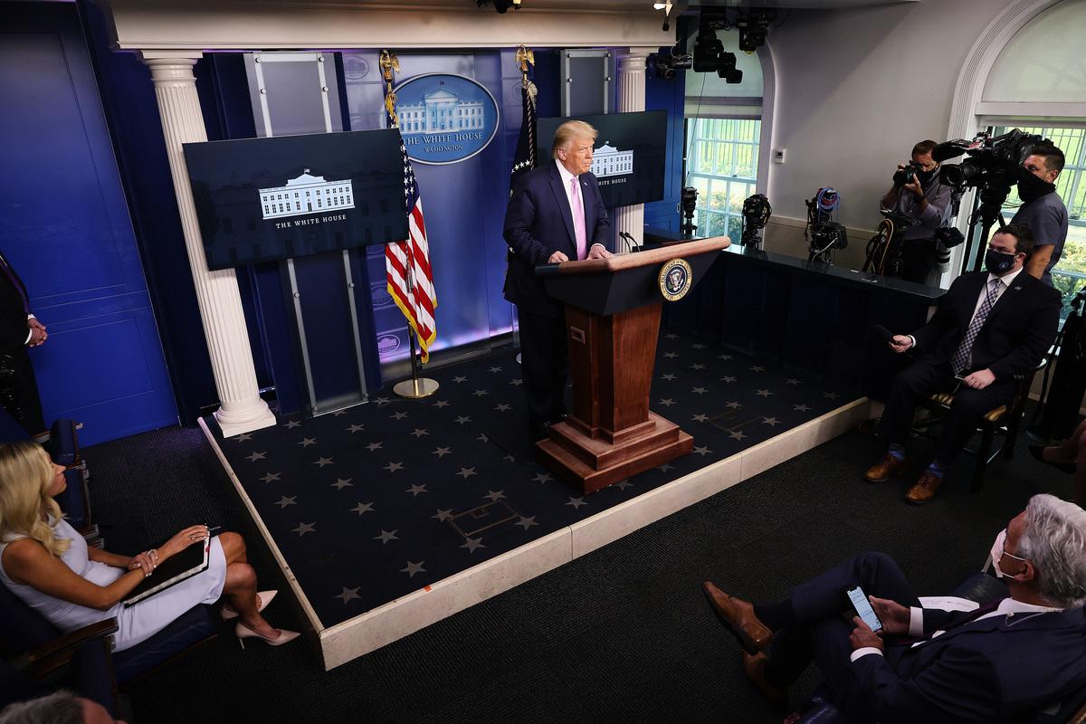 2020年8月19日,在白宮新聞會上,美國總統特朗普表示,取消對香港的優惠,將為美國帶來商機。(Chip Somodevilla/Getty Images)