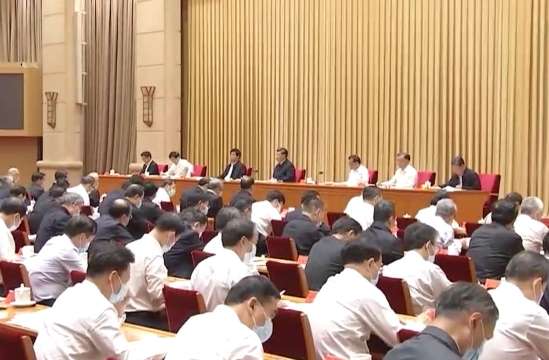 9月25-26日,中共召開新疆工作會議,七政治局常委全部亮相。(影片截圖)