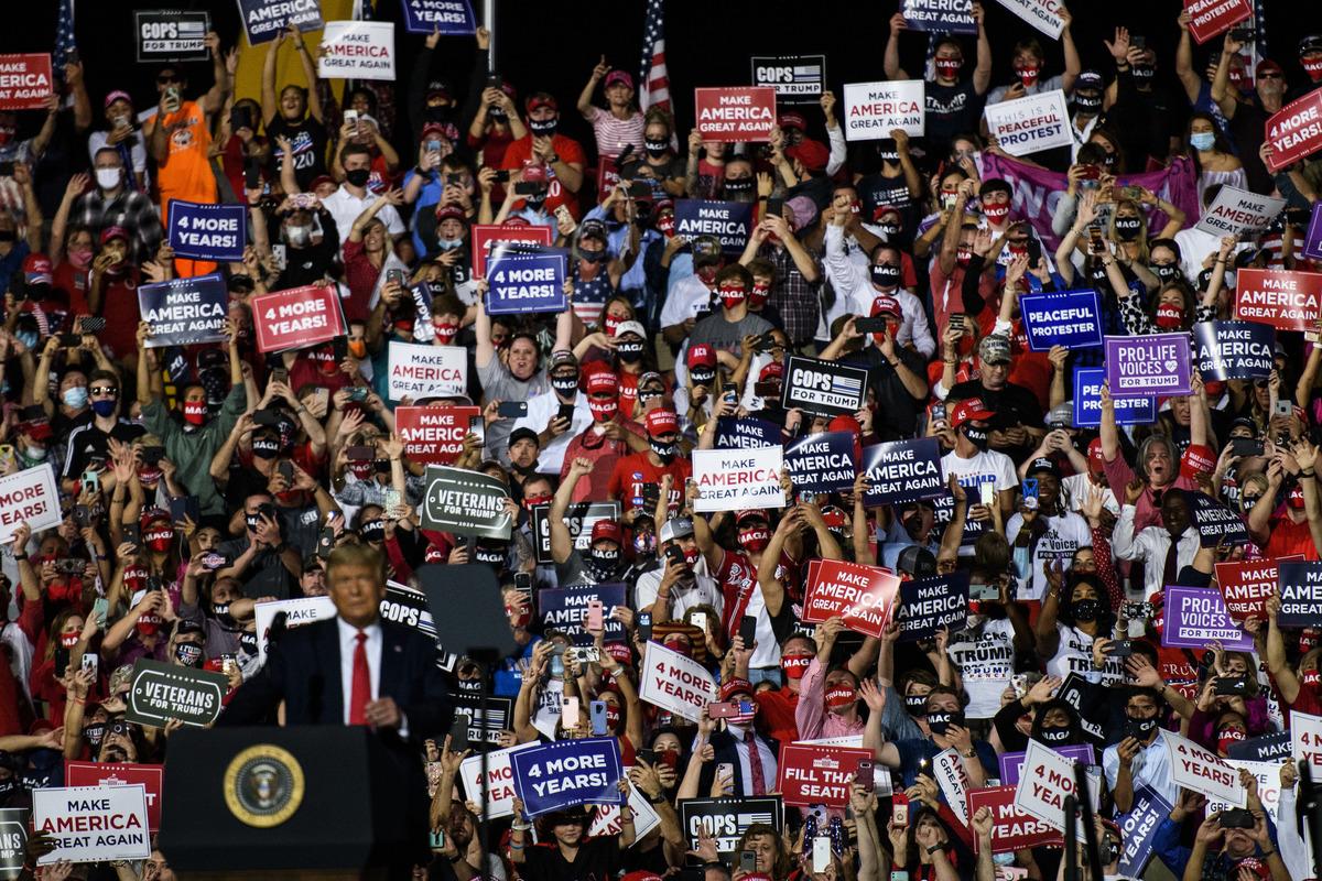 2020年10月21日,特朗普在北卡羅來納州造勢大會現況。(Melissa Sue Gerrits/Getty Images)