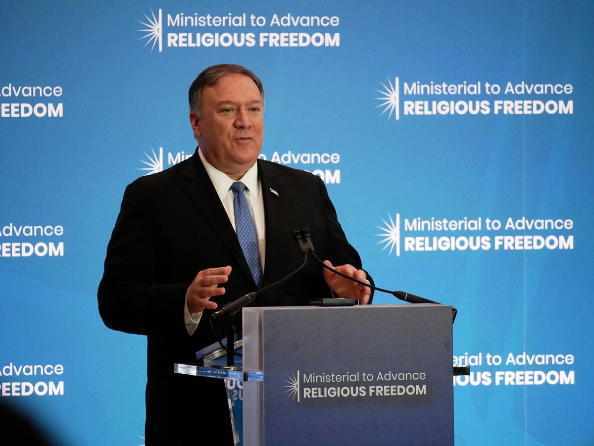 7月16日,美國國務卿蓬佩奧(Mike Pompeo)在國務院宗教自由會議上發言。(李辰/大紀元)