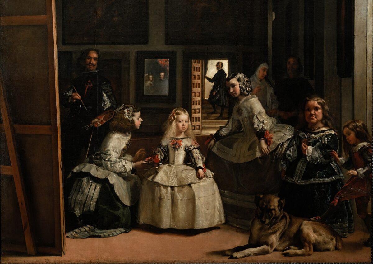 油畫《宮娥》局部。由西班牙國畫家迭戈·委拉斯開茲(Diego Velazquez)作於1656至1657期間,長10呎5英吋,寬9呎1英吋。現藏於西班牙普拉多博物館。(公有領域)