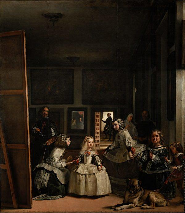 油畫《宮娥》(「Las Meninas」,又名《美尼娜》)局部。由西班牙國畫家迭戈·委拉斯開茲(Diego Velazquez)作於1656至1657期間,長10呎5英吋,寬9呎1英吋。現藏於西班牙普拉多博物館。(公有領域)