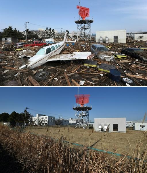 日本311大地震重災區宮城縣名取市(Natori,Miyagi)今昔對比圖。上圖攝於2011年3月13日,下圖攝於2021年3月4日。(MIKE CLARKE,KAZUHIRO NOGI/AFP via Getty Images)