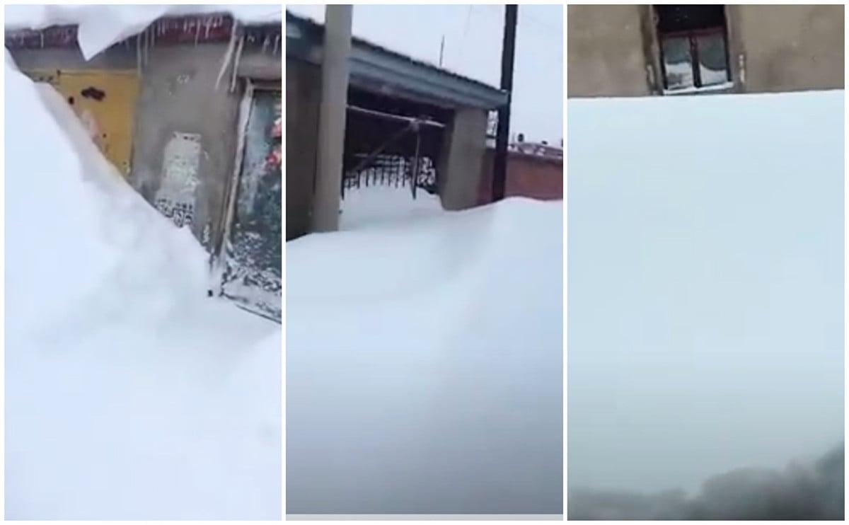 網友拍攝到的齊齊哈爾大雪封門。(影片截圖)