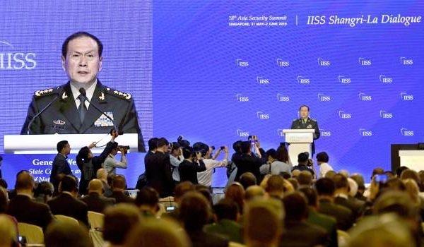 中共國防部長魏鳳和在香格里拉會上發言。(Getty Images)