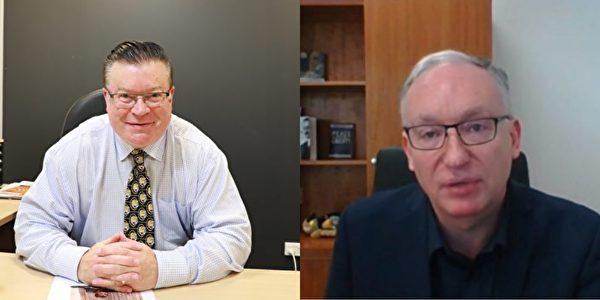 維州議員菲恩(Bernie Finn)(左)和林布里克(David Limbrick)祝賀第22屆世界法輪大日。(大紀元採訪合成圖)