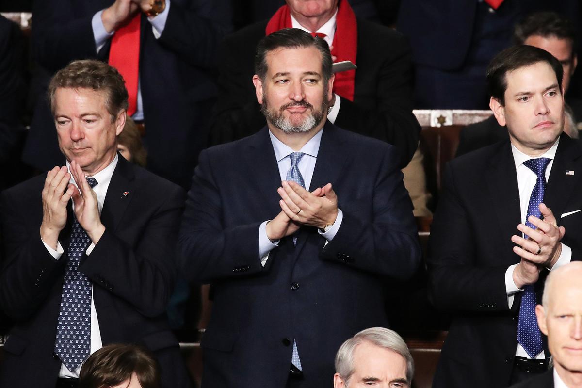 美國參議員特德·克魯茲(Ted Cruz)(中)和馬克·魯比奧(Macro Rubio)(右)等。(攝於2020年2月4日)(Drew Angerer/Getty Images)