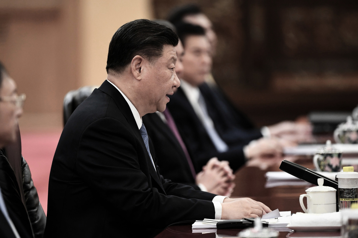 2019年12月23日,中共領導人習近平在人民大會堂與日本首相安倍晉三(圖中未出現)會談。(Noel Celis-Pool/Getty Images)