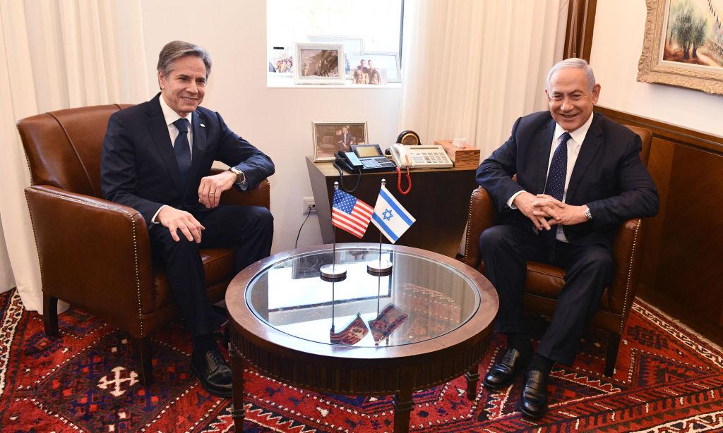 5月25日,美國國務卿布林肯與以色列總理內塔尼亞胡會面。(Photos by Haim Zach / GPO via Getty Images)