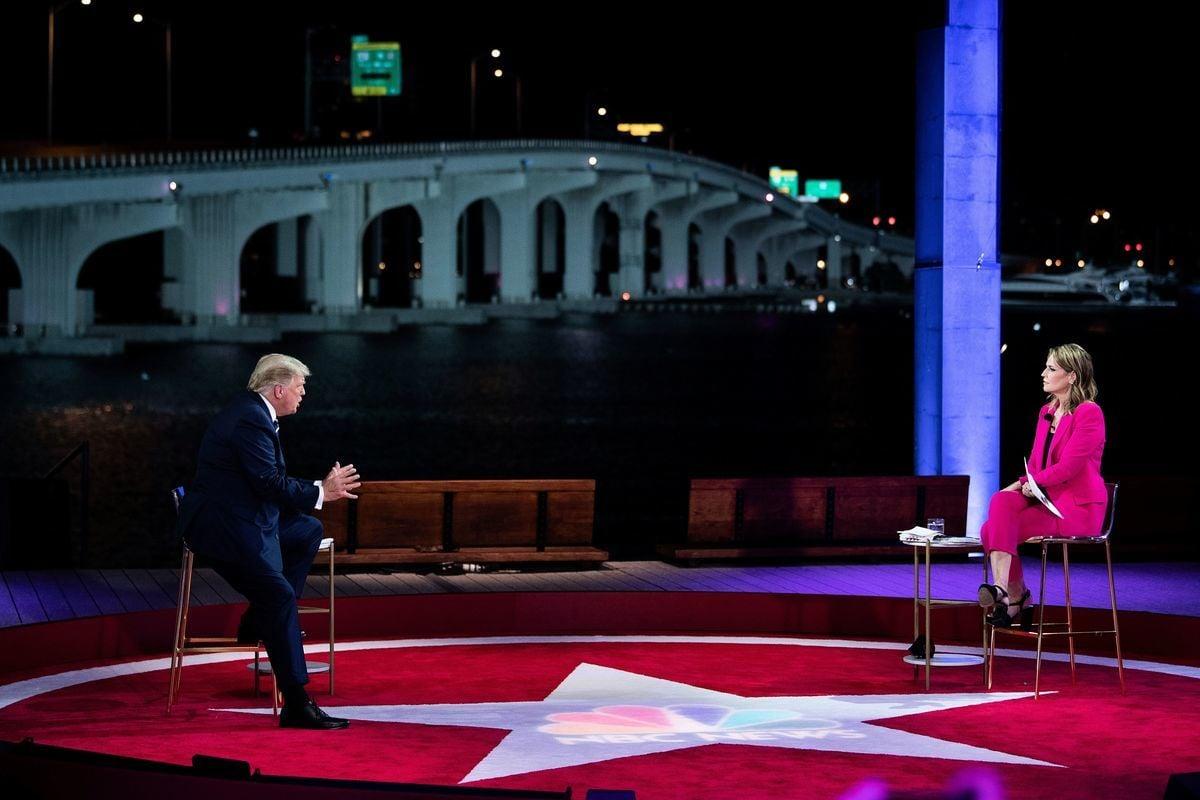 特朗普2020年10月15日在邁阿密參加美國全國廣播公司(NBC)的市民大會,主持人是NBC的《今日秀》女主播薩凡納·加斯里(Savannah Guthrie)。(BRENDAN SMIALOWSKI/AFP via Getty Images)