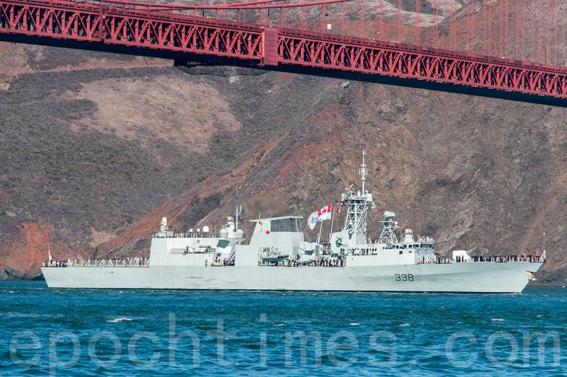 加拿大皇家海軍的溫尼泊號導彈驅逐艦(HMCS WINNIPEG FFH 338)在台北時間2020年10月2日行經台灣海峽。圖為溫尼泊號資料照。(李文淨/大紀元)